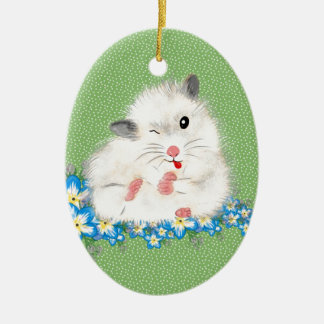 Cute white Syrian hamster accessories, green polka Ceramic Ornament