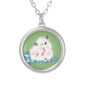 Cute white Syrian hamster accessories, green polka Necklaces