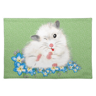Cute white Syrian hamster accessories, green polka Cloth Placemat