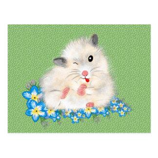 Cute white Syrian hamster accessories, green polka Postcard