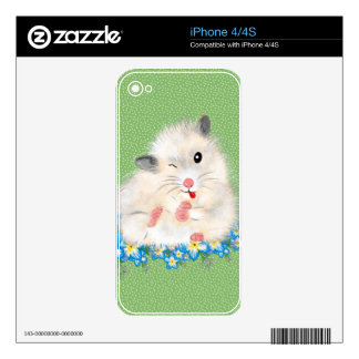 Cute white Syrian hamster accessories, green polka iPhone 4 Decals