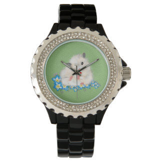 Cute white Syrian hamster accessories, green polka Wristwatch