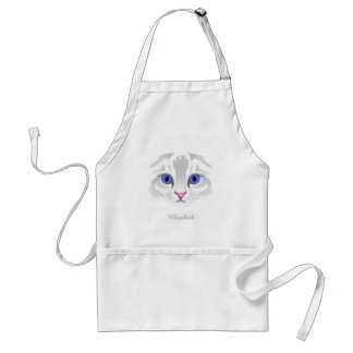 Cute white tabby cat face close up illustration adult apron