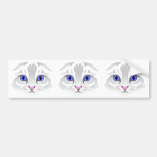Cute white tabby cat face close up illustration bumper sticker