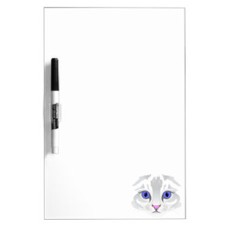 Cute white tabby cat face close up illustration Dry-Erase board