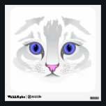 """Cute white tabby cat face close up illustration wall sticker<br><div class=""""desc"""">Close up of cute white tabby cat face with beautiful blue eyes.  Ideal gift for cat lovers.</div>"""