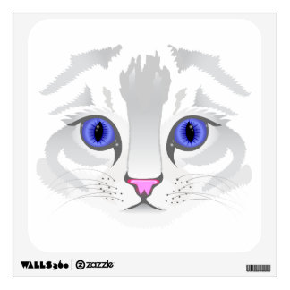 Cute white tabby cat face close up illustration wall sticker