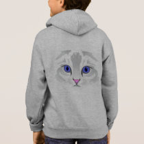 Cute white tabby cat face name kid's hoodie