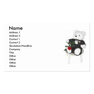 Cute White Teddy Bear In Tuxedo & Rose Business Card