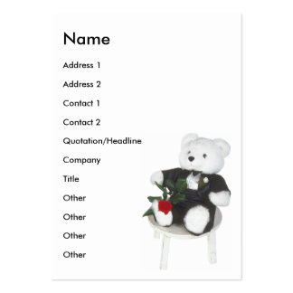 Cute White Teddy Bear In Tuxedo & Rose Large Business Card
