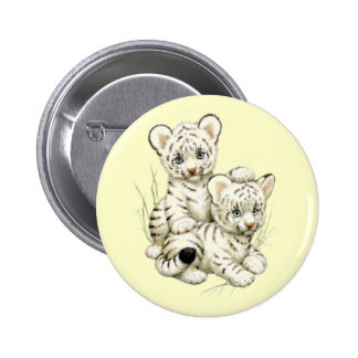 Cute White Tiger Cubs 2 Inch Round Button