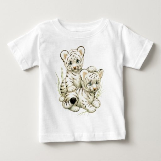 Cute White Tiger Cubs Baby T-Shirt | Zazzle Cute Siberian Tiger Shirt