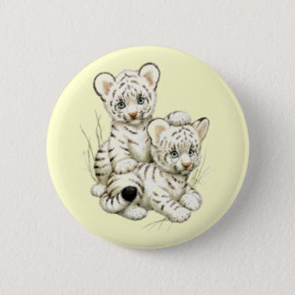 Cute White Tiger Cubs Button