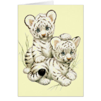 Cute White Tiger Cubs Greeting Card
