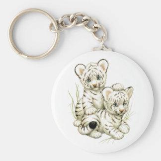 Cute White Tiger Cubs Key Chain