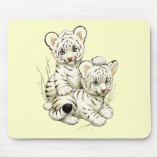Cute White Tiger Cubs Mouse Pads