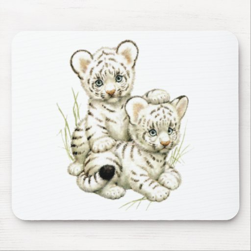 Cute White Tiger Cubs Mousepads