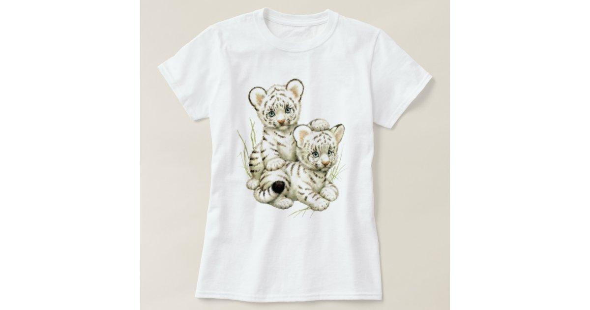Cute White Tiger Cubs T-Shirt | Zazzle Cute Siberian Tiger Shirt