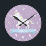 """Cute White Unicorn Girls Bedroom Wall Clock<br><div class=""""desc"""">A wall clock that comes with a cute white unicorn with pastel red, blue and yellow mane which somehow resembles the rainbow. Easy to read white clock face. Perfect for decorating a girls bedroom with an enchanting, magical and fairy tale theme! Personalize with girl"""