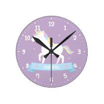 Cute White Unicorn Girls Bedroom Wall Clock
