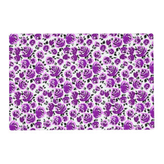 Cute white violet roses patterns placemat
