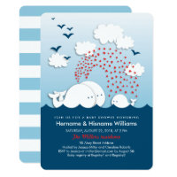 Exceptional Cute White Whales Couples Baby Shower Invite