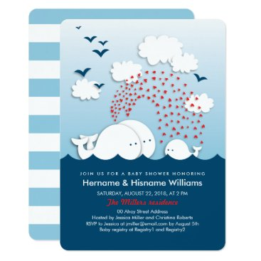 Toddler & Baby themed Cute White Whales Couples Baby Shower Invite