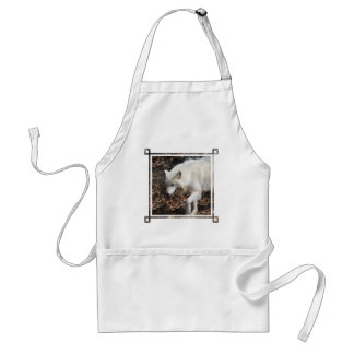Cute White Wolf Adult Apron