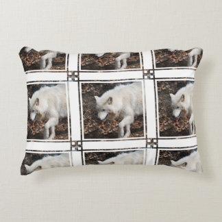 Cute White Wolf Accent Pillow