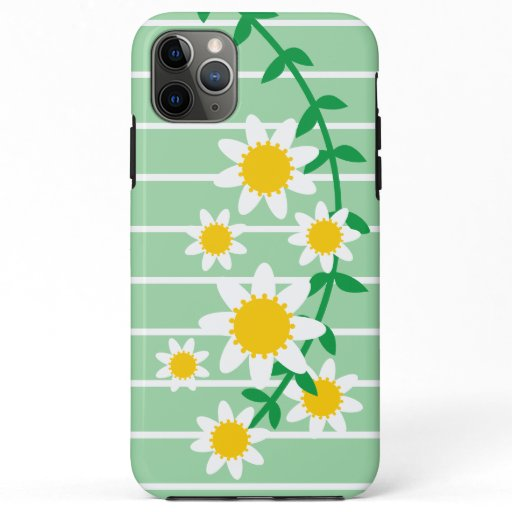 Cute White & Yellow Summer Daisies, Mint Green iPhone 11 Pro Max Case