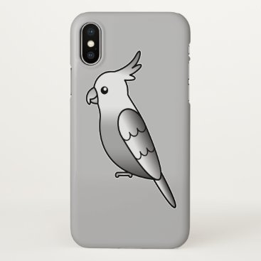 Beach Themed Cute Whiteface Cockatiel Cartoon Bird Illustration iPhone X Case