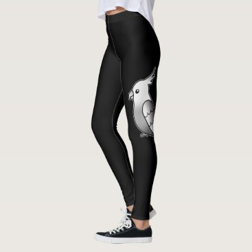 Beach Themed Cute Whiteface Cockatiel Cartoon Bird Illustration Leggings