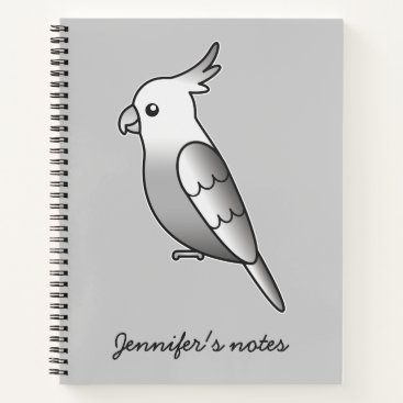Beach Themed Cute Whiteface Cockatiel Cartoon Bird Illustration Notebook