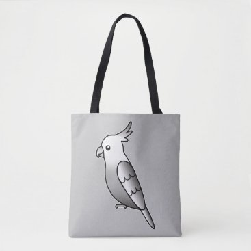 Beach Themed Cute Whiteface Cockatiel Cartoon Bird Illustration Tote Bag