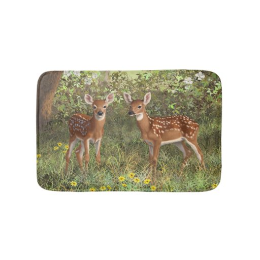 Cute Whitetail Deer Twin Fawns Bath Mat