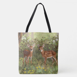 Cute Whitetail Deer Twin Fawns Tote Bag
