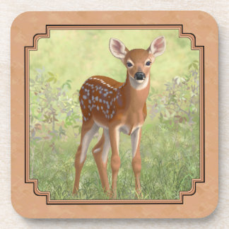 Cute Whitetail Fawn Beverage Coaster