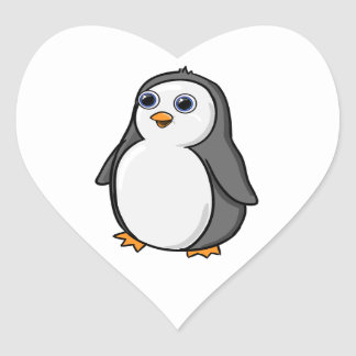 Cute Wide-Eyed Baby Penguin Heart Sticker