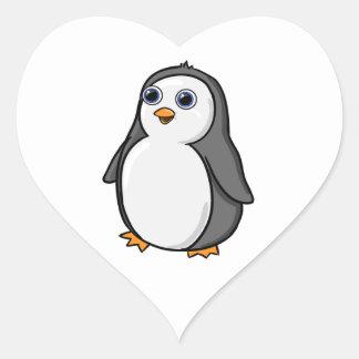 Cute Wide-Eyed Baby Penguin Heart Sticker