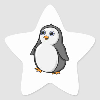 Cute Wide-Eyed Baby Penguin Star Sticker