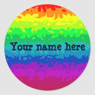 Cute wild abstract rainbow add your name classic round sticker
