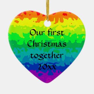 Cute wild abstract rainbow heart ceramic ornament