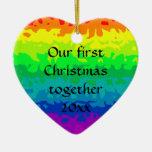 Cute wild abstract rainbow heart christmas tree ornaments