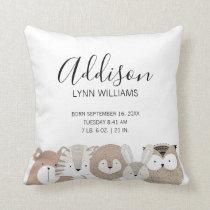 Cute Wild Animals Baby Birth Stats Pillow