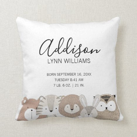 Cute Wild Animals Baby Birth Stats Pillow
