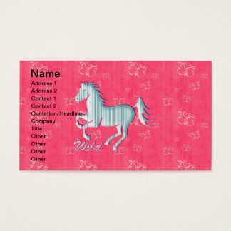 Cute Wild Horse with stripes and butterflies Business Card