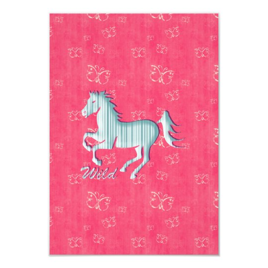 Cute Wild Horse with stripes and butterflies Card