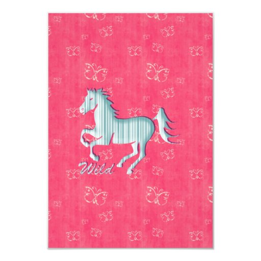Cute Wild Horse with stripes and butterflies Invite