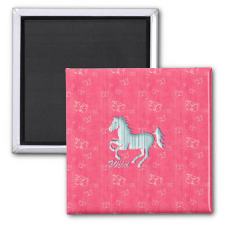 Cute Wild Horse with stripes and butterflies Fridge Magnet