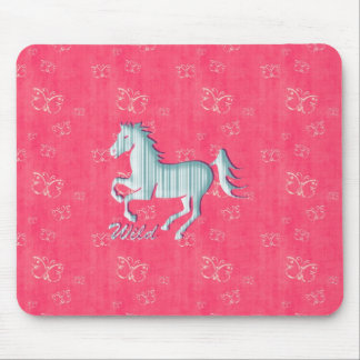 Cute Wild Horse with stripes and butterflies Mouse Pad